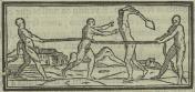 Gravura em Gandavo, 1576 - Cap. IV: Da morte que dam aos captivos e da crueldade que usam com elles