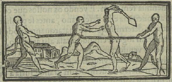 Gravura em Gandavo, 1576 Da morte que dam aos captivos e da crueldade que usam com elles