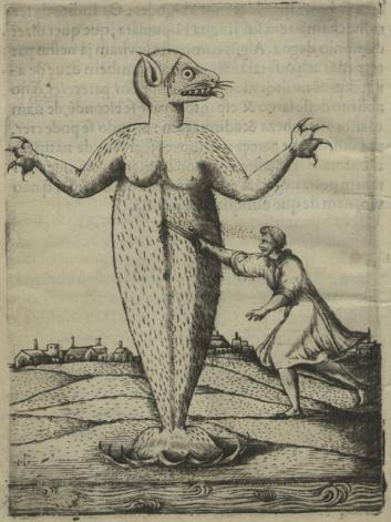 Gravura em Gandavo, 1576 - Cap. IX: Do monstro marinho que se matou na capitania de Sam Vicente no anno de 1564
