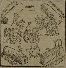 """Gravura em Staden, 1557 - """"Como dançaram comigo em frente às cabanas"""""""