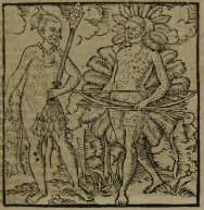 """Gravura em Staden, 1557: """"Dois Chefes Tupinambás com os Corpos Adornados por Plumas"""""""