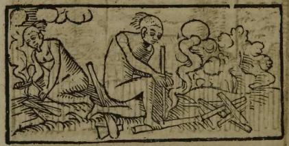 """Gravura em Staden, 1557 - """"Como fazem fogo"""""""