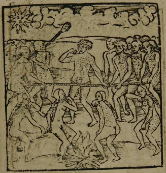 """Gravura em Staden, 1557 - """"Execução de um Prisioneiro que Está Preso à Mussurana"""""""