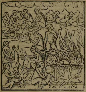 """Gravura em Staden, 1557 - """"Assando os Pedaços do Corpo do Prisioneiro"""""""